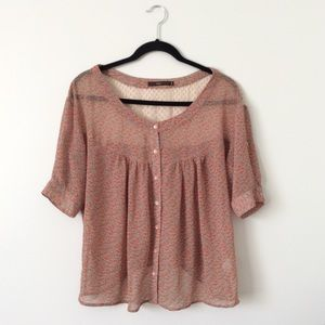 Dusty Pink Floral Sheer Button-down Blouse | Hazel